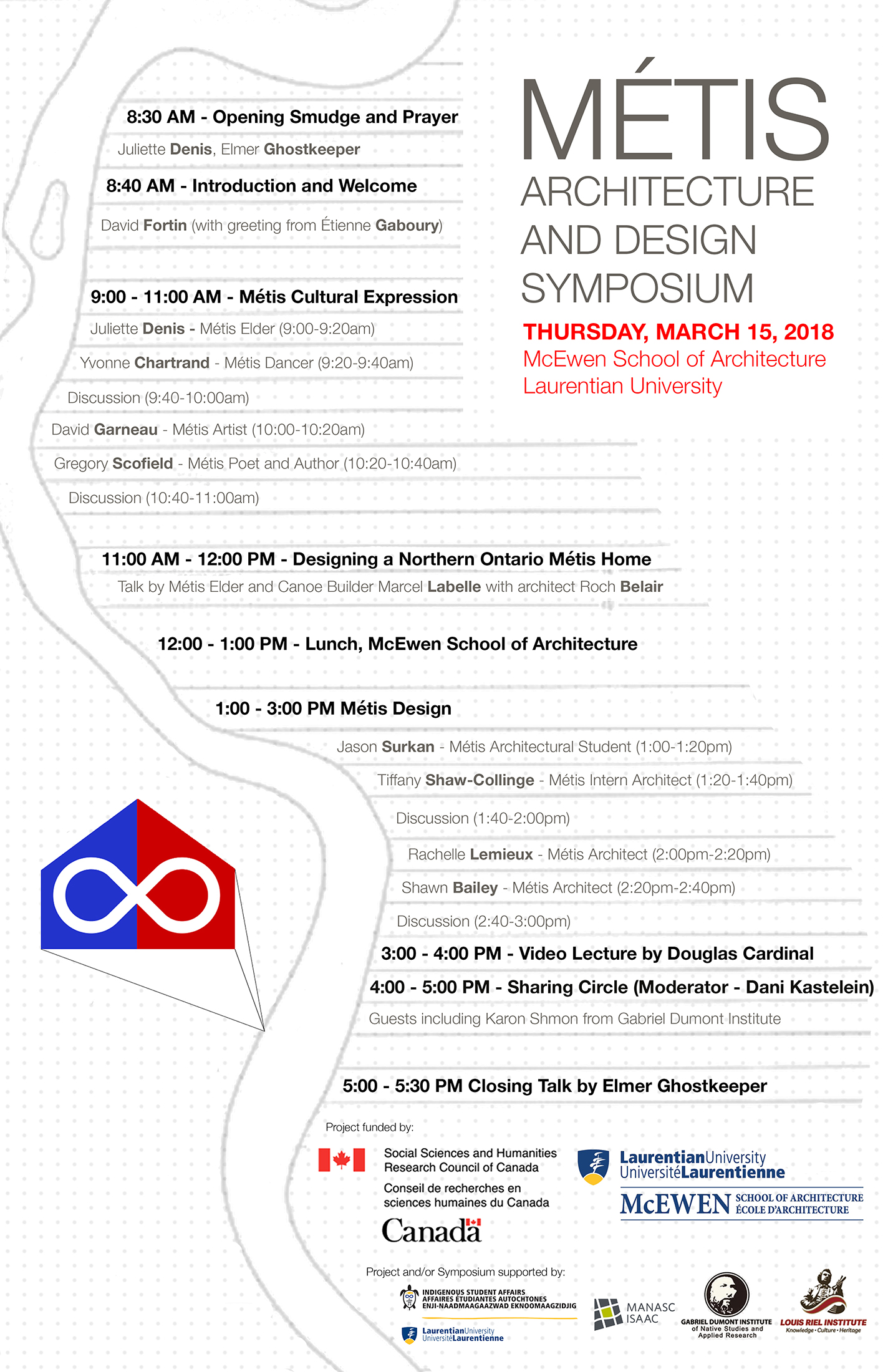 The poster for the 2018 Métis Architecture and Design Symposium at Laurentian University's McEwen School of Architecture