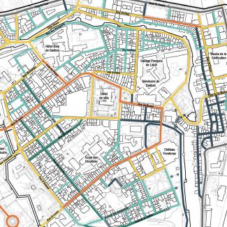 Carte de priorisation de base des réaménagements en rues conviviales.