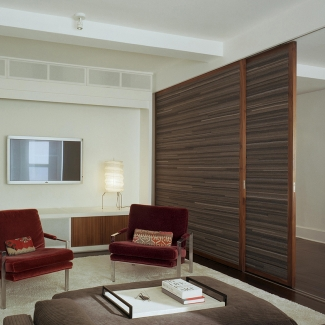 Screening room doors, West Village Apartment Project Architects: B-Space Architecture + Design, New York