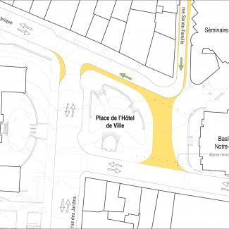 Intersection de la rue Ste-Famille et côte de la Fabrique, après le réaménagement proposé.