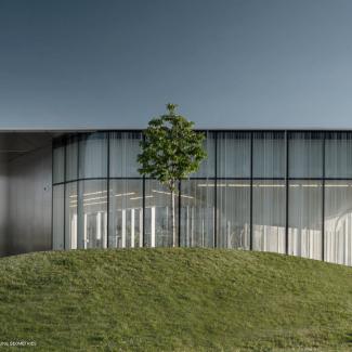 Vue extérieure illustrant la relation formelle entre le toit vert ondulant, l'aménagement du parc et les géométries du plafond intérieur.