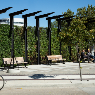 Rest area with trellis that includes built-in lighting, providing a safe place to meet and gather at night during the winter theatre season.