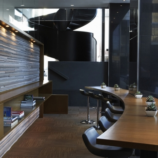Feature wall (Face 2) lounge behind reception at Le Germain Hotel Calgary.  Project Architects: LemayMichaud, Montreal