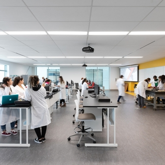 The Joyce Centre is equipped with state-of-the-art labs, workshops, lecture theatres, and industry training centres. Hybrid classrooms create flexible environments that facilitate group learning.