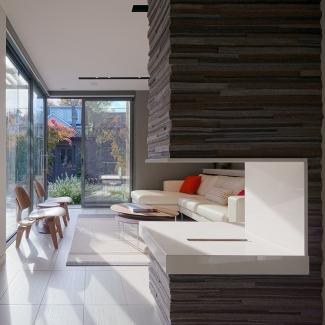Autour du foyer dans une résidence privée  Architectes du projet : Dubbeldam Architecture + Design, Toronto