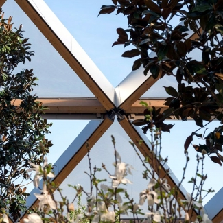 Crossrail timber lattice structure and ETFE detail