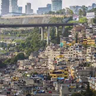 Hillside informal settlements example around the city