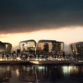 ADMZ digital façade at dusk