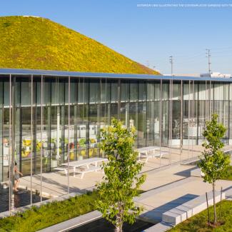 Vue extérieure illustrant les jardins contemplatifs avec des bassins-miroirs en terrasse, la façade ondulée et la courbe régulière du vaste toit vert.