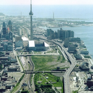 Aerial view of the CN Tower, Toronto