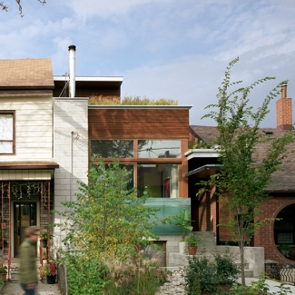 Euclid Avenue House - View from street of facade and landscape design