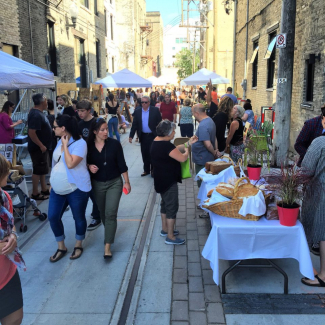 Alleyways Market takes over the back lane at Elgin for four Fridays each summer. In it's second full year the market provides a mix of handmade goods, ready to eat snacks and fresh, locally produced food.