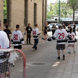 Street hockey tournament organized by HTFC with five architectural firms in the area.
