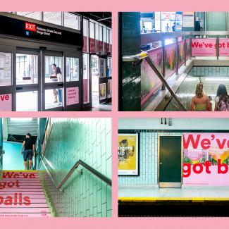Image de la campagne 2018 de Tourisme Montréal qui a utilisé 18 nuances de gai pour faire de la publicité pour Montréal sur les marchés torontois, new-yorkais et californien dans le cadre de la campagne We've Got Balls.
