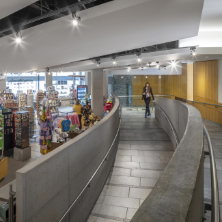 Contemporary view of the exit ramp area into the gift shop