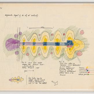 Study of cities for Meadowvale, Mississauga, Ontario, 1961, ink, graphite and coloured pencil on translucent paper mounted on paper, 44 × 36 cm.
