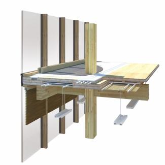 Diagramme d'un élément de plancher devant le mur rideau