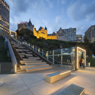 Urban Stairs and funicular landing