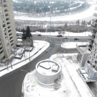 Aerial looking towards North Saskatchewan River illustrating tunnel crossing below.