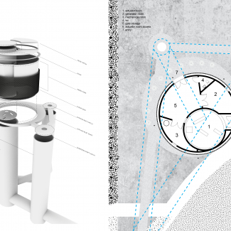 Exploded Axonometric of building and sewer tunnel system / Site and building plan.