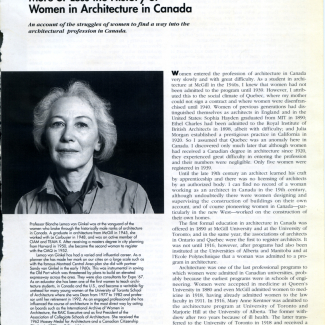 Blanche Lemco van Ginkel, Slowly and Surely, Opening page of article on women in architecture; updated from an earlier article published in Society for the Study of Architecture in Canada Bulletin, 1993.