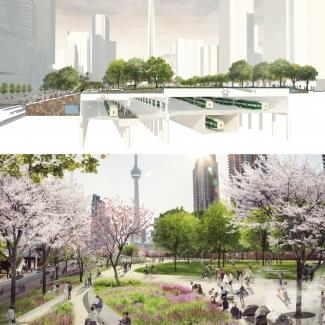 Structure du plateforme et vue sur les promenades et jardins